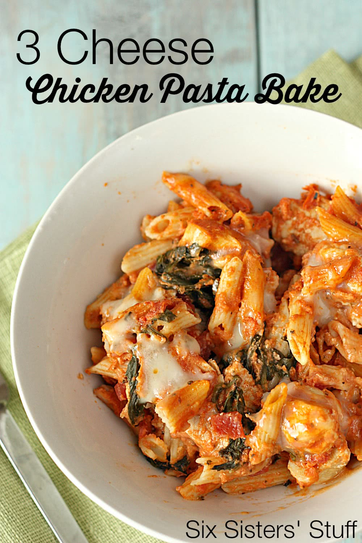Three-Cheese Chicken Penne Pasta Bake Recipe