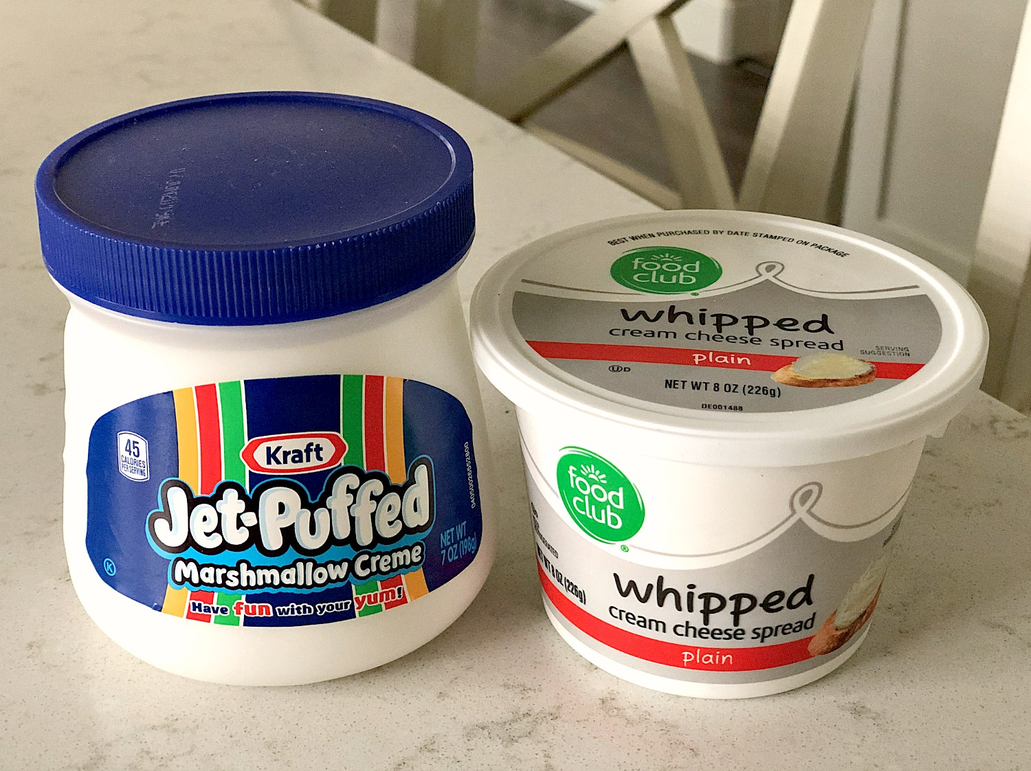 Containers for Marshmallow Creme and Whipped cream cheese