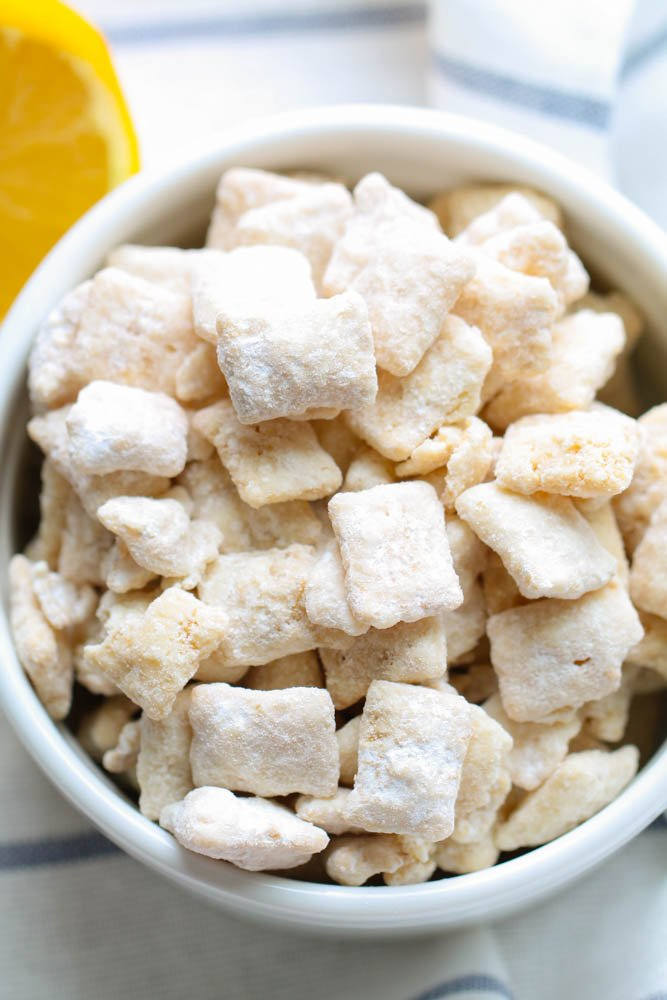 Lemon Chex Mix in a white bowl