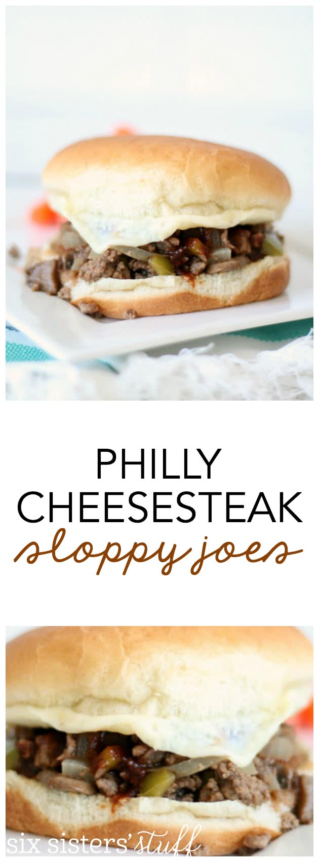 Philly Cheesesteak Sloppy Joes Recipe from SixSistersStuff.com