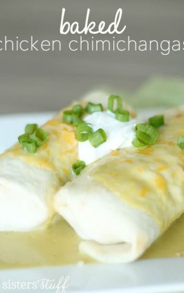 baked chimichangas with green sauce filled with chicken and cheese