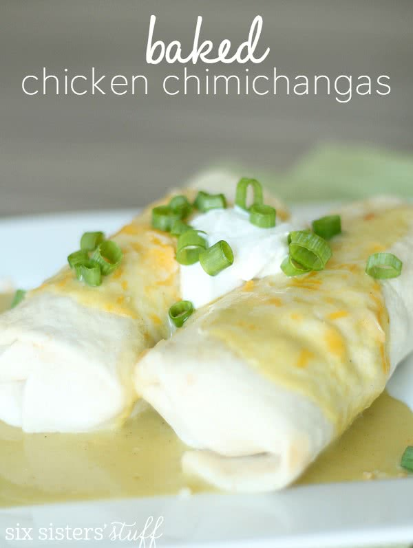 Baked Chicken Chimichangas from SixSistersStuff.com
