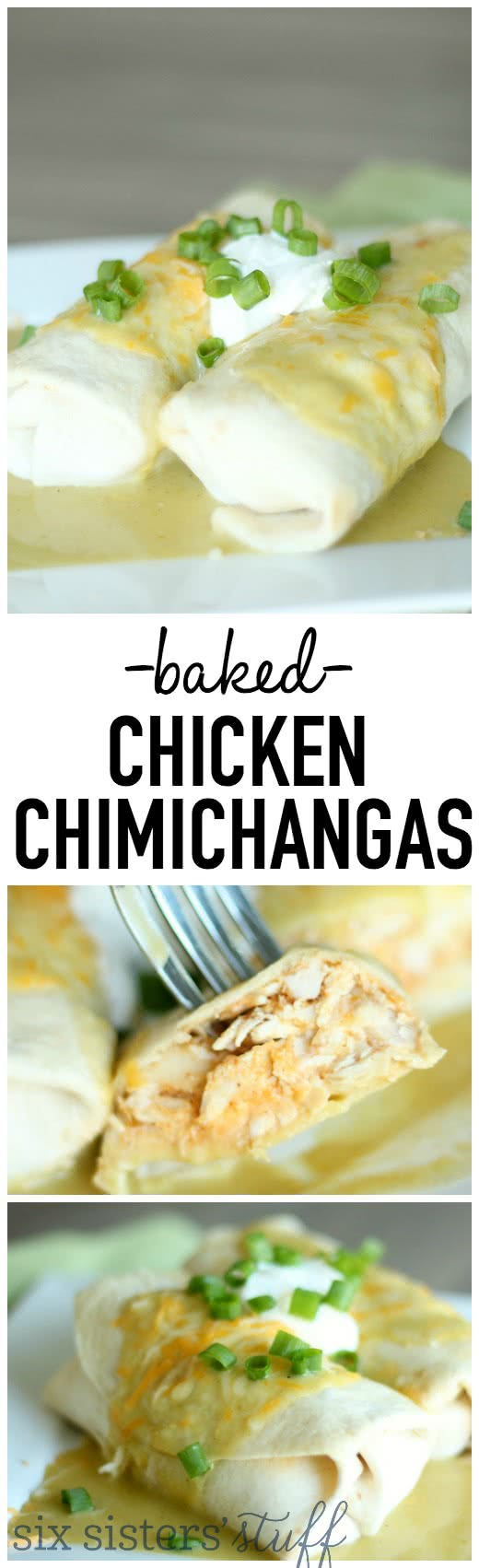 Baked Chicken Chimichangas with Green Sauce from SixSistersStuff.com