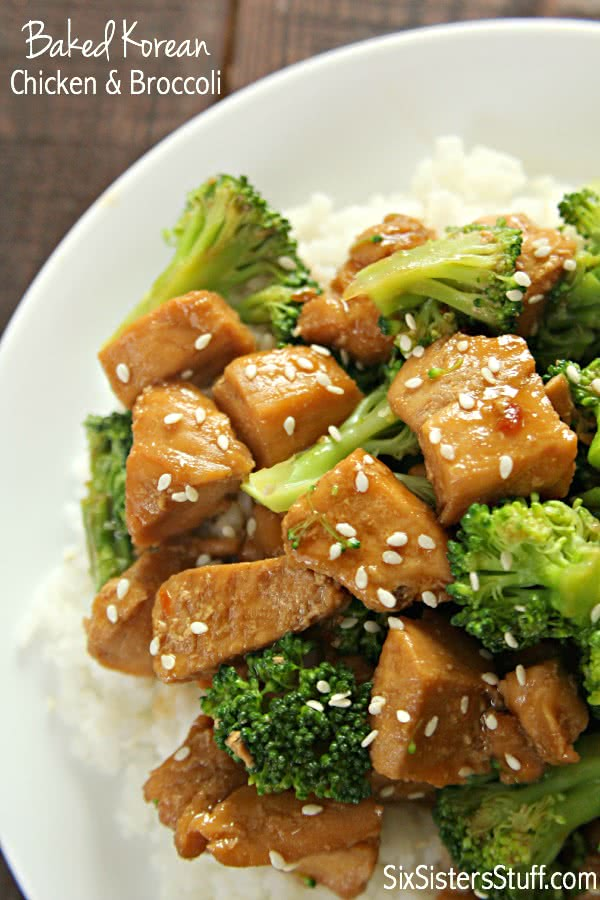 Baked Korean BBQ Chicken and Broccoli on SixSistersStuff