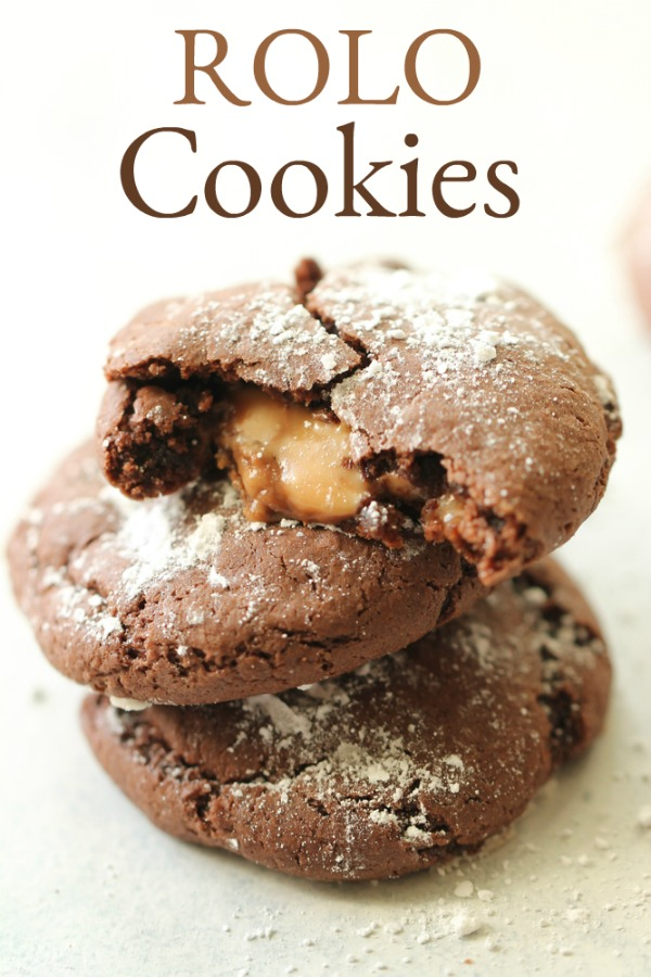 Rolo cake mix cookies with caramel center