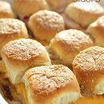 Hot Ham and Cheese Sliders Tailgate Sandwiches on SixSistersStuff