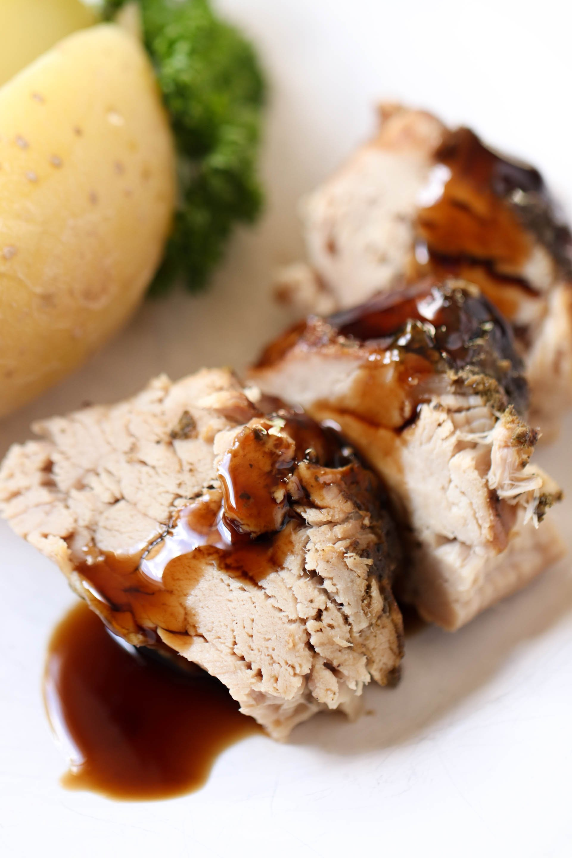 Slow Cooker Brown Sugar & Balsamic Glazed Pork Loin Recipe