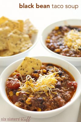 Black Bean Taco Soup on SixSistersStuff