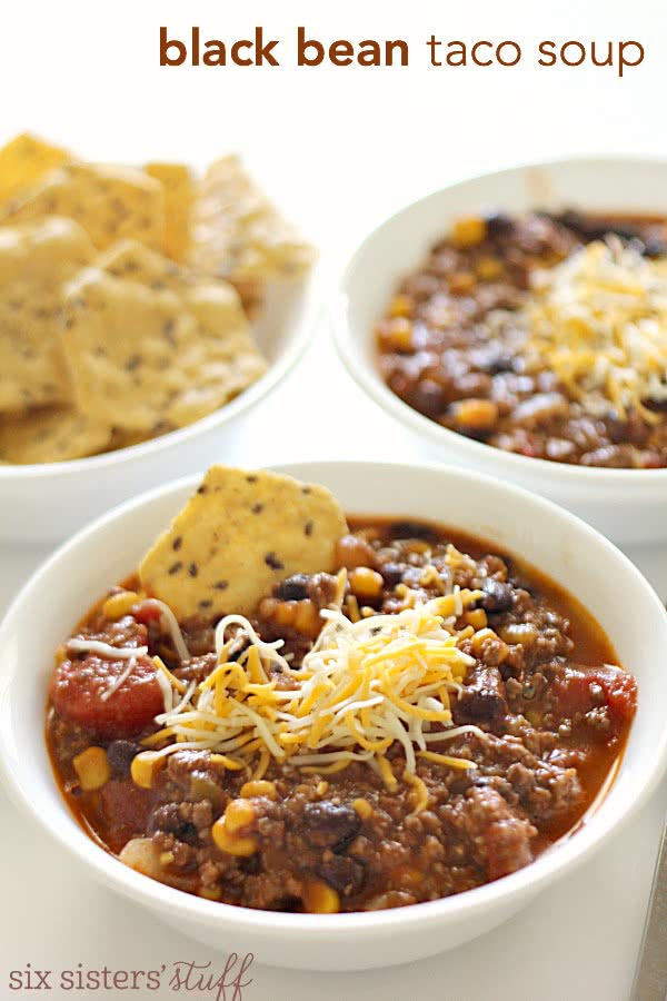 Black Bean Taco Soup on SixSistersStuff