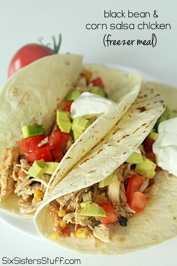 Slow Cooker Black Bean and Corn Salsa Chicken {Freezer Meal}