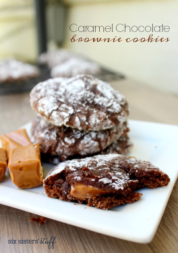 Caramel Chocolate Brownie Crinkle Cookies Recipe
