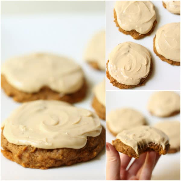 Pumpkin Cookies with Caramel Frosting Six Sisters