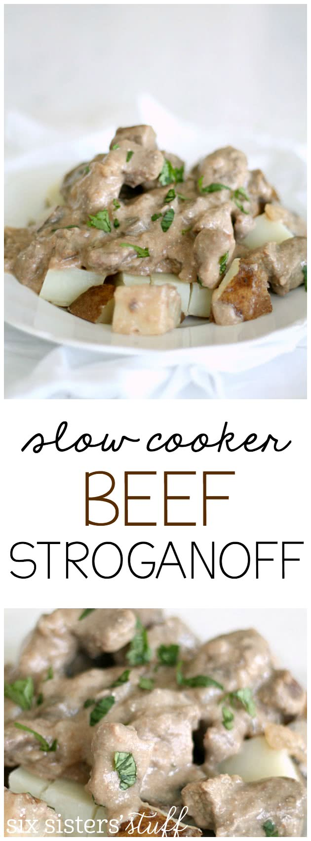 Slow Cooker Beef Stroganoff Recipe from SixSistersStuff.com. So easy to make!