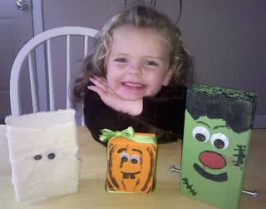 "Easy Kids Crafts: Halloween 2×4"" Wood Block- Mummy, Pumpkin, and Frankenstein"