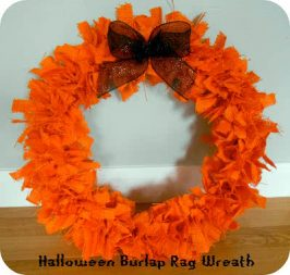 Halloween Burlap Rag Wreath and Bow Tutorial