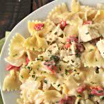Creamy Chicken and Roasted Red Pepper Pasta on SixSistersStuff.com