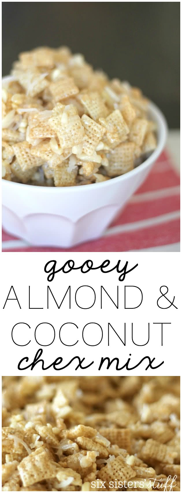 Gooey Almond & Coconut Chex Mix from SixSistersStuff.com. Perfect for holiday parties or neighbor gifts!