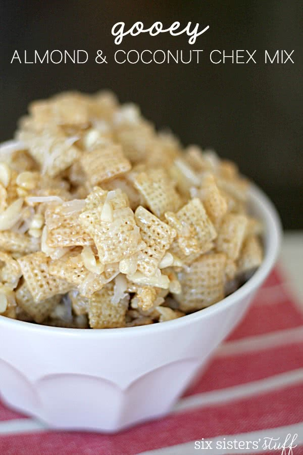 Gooey Almond and Coconut Chex Mix from SixSistersStuff.com