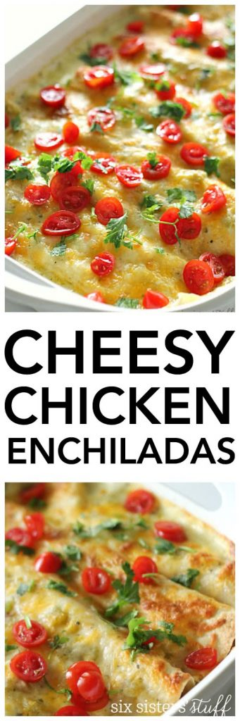White Chicken Enchiladas on SixSistersStuff