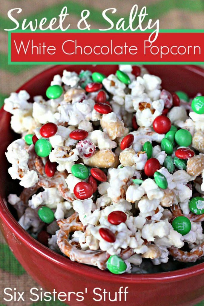 Microwave popcorn according to package directions. Transfer to a large bowl. In a microwave, melt white baking chips; stir until smooth. Pour over popcorn and stir until coated. Add the M&M's, candy canes and peanuts. Immediately spread onto waxed paper; let stand until set. Store in an airtight container.