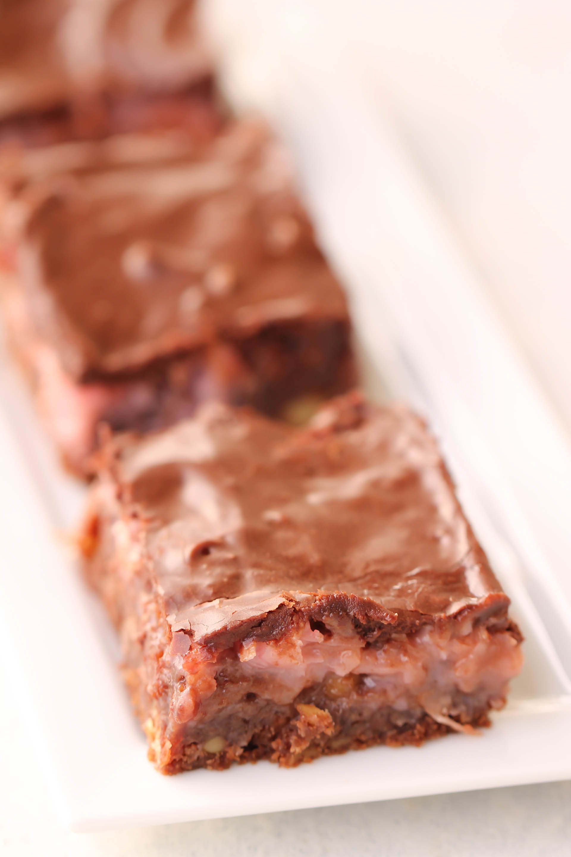 Fudgy Coconut Valentine Brownies Recipe