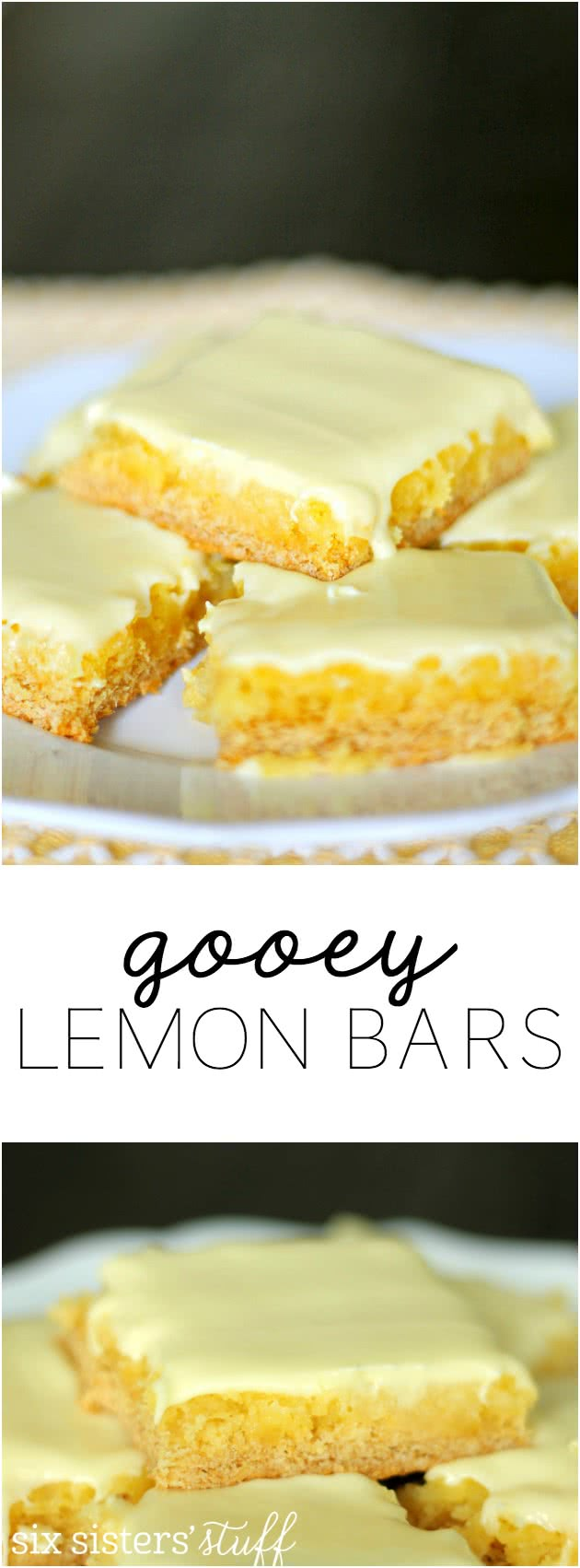 Gooey Lemon Bars from SixSistersStuff.com. These are made with a cake mix and are absolutely amazing!