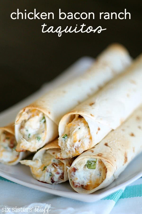 Baked Chicken Bacon Ranch Taquitos Recipe from SixSistersStuff.com