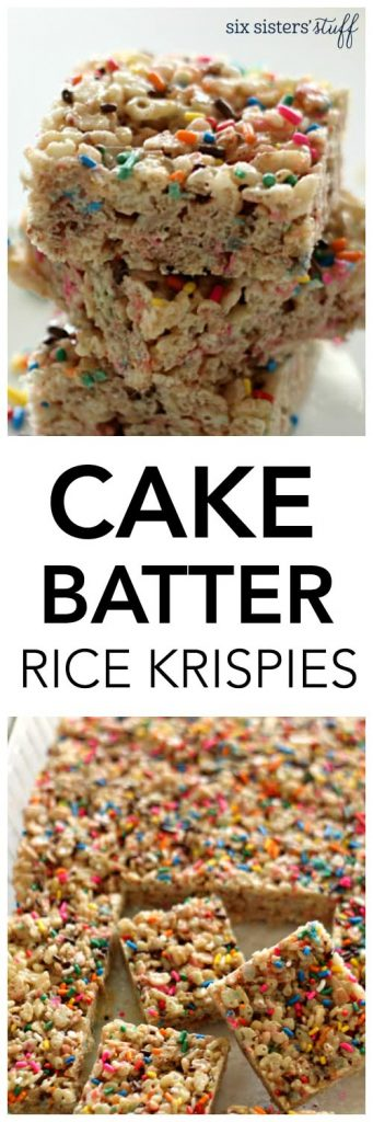 Cake Batter Rice Krispies from SixSistersStuff.com