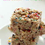 Cake Batter Rice Krispies on SixSistersStuff