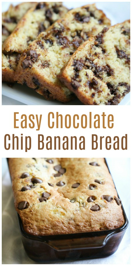 easy chocolate chip banana bread fresh out of the oven