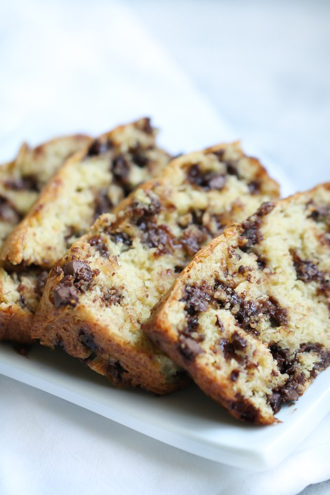 simple banana bread sliced with chocolate chips