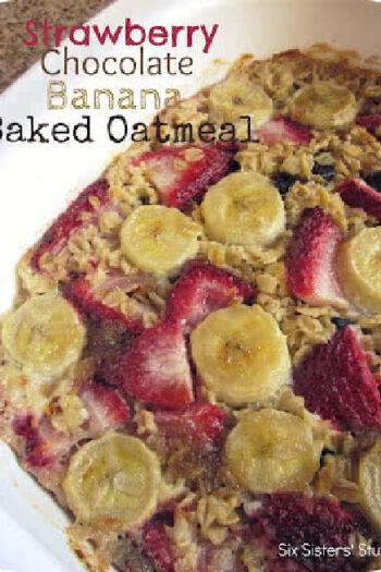 Strawberry Chocolate Banana Baked Oatmeal