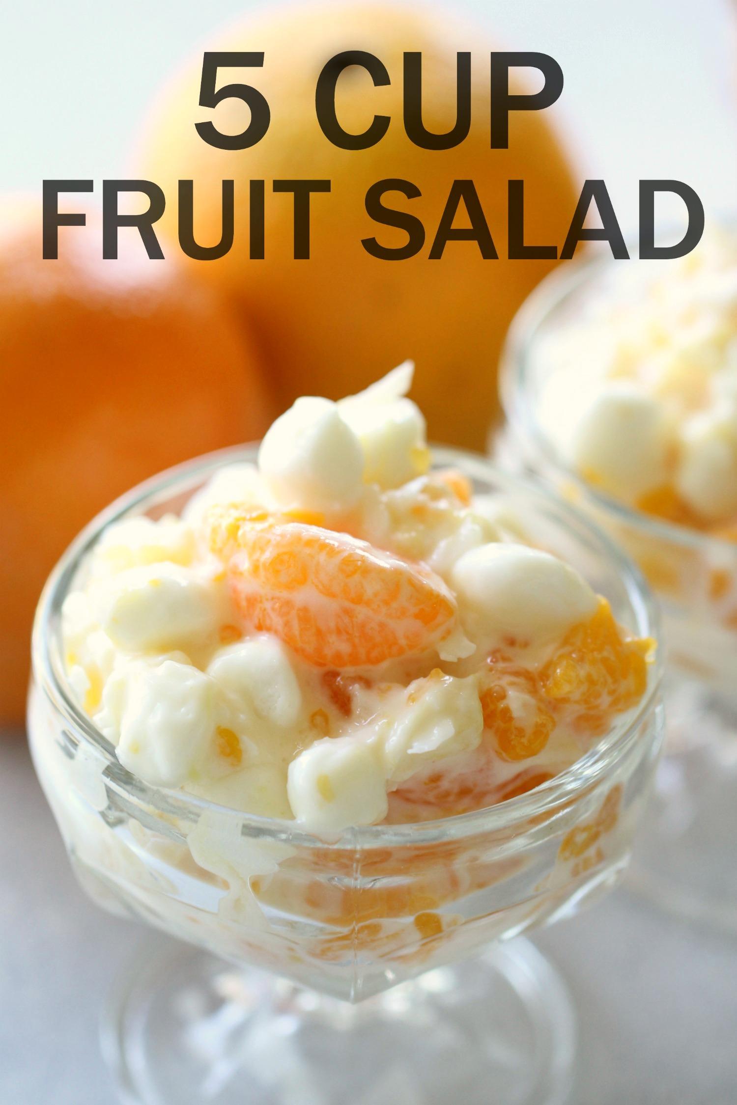 Grandma's 5 Cup Creamy Fruit Salad in glass dish