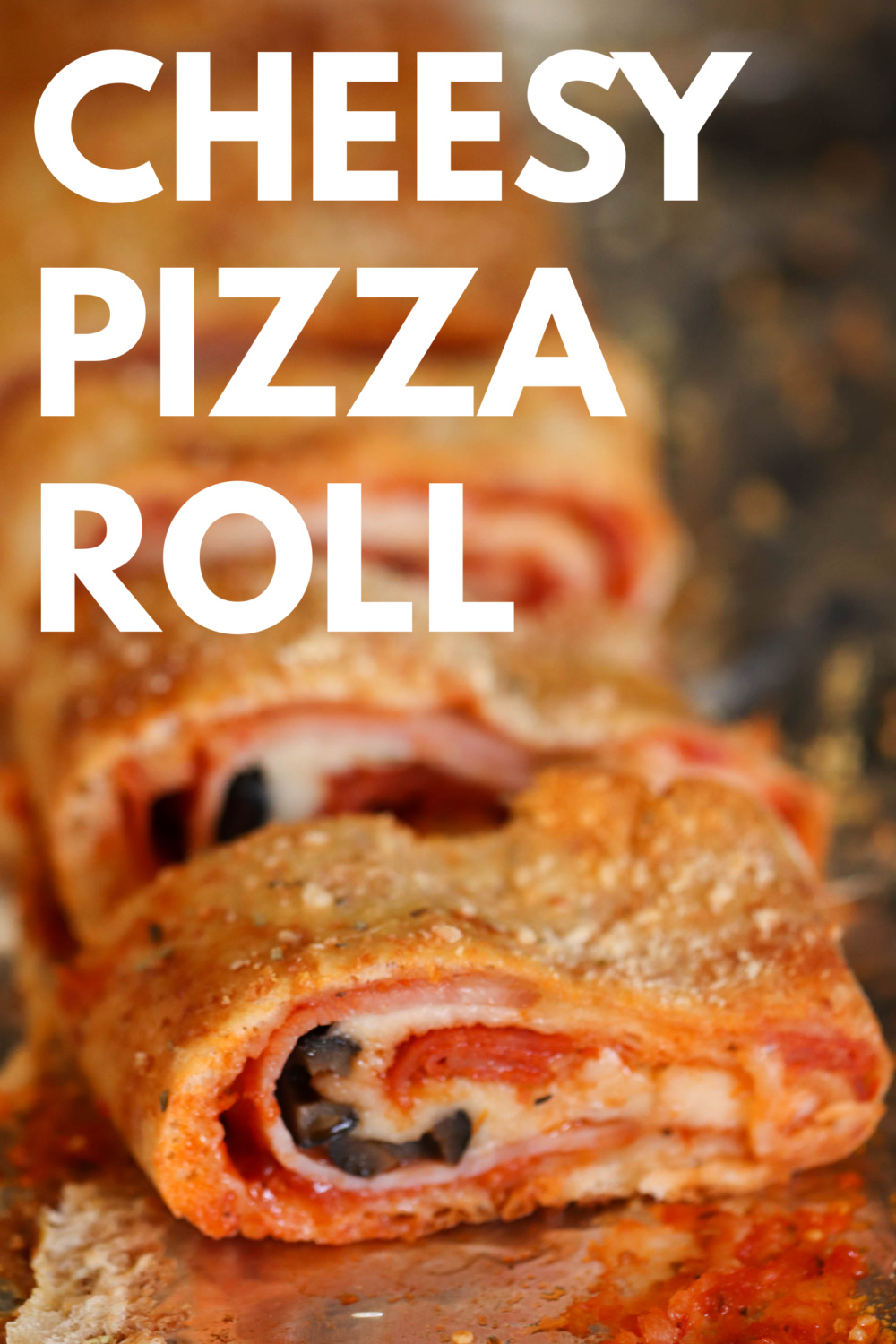 Cheesy Pizza Roll with ham and cheese