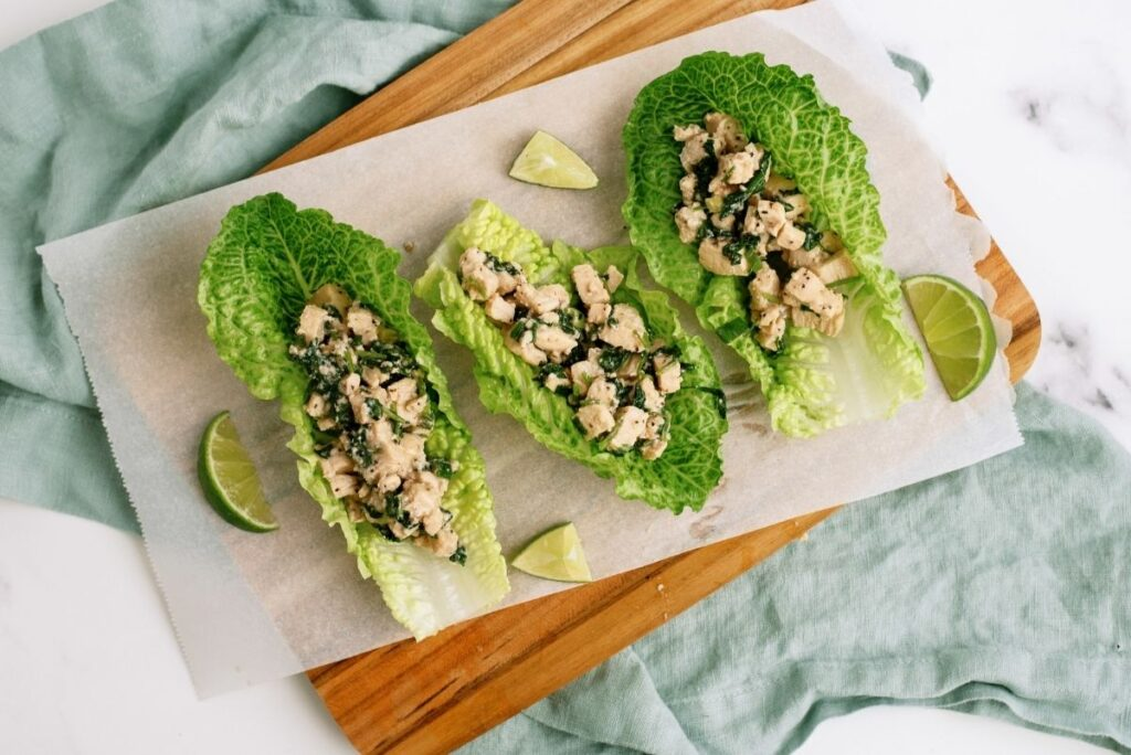 Cilantro Lime Chicken Lettuce Wraps on a tray ready to serve