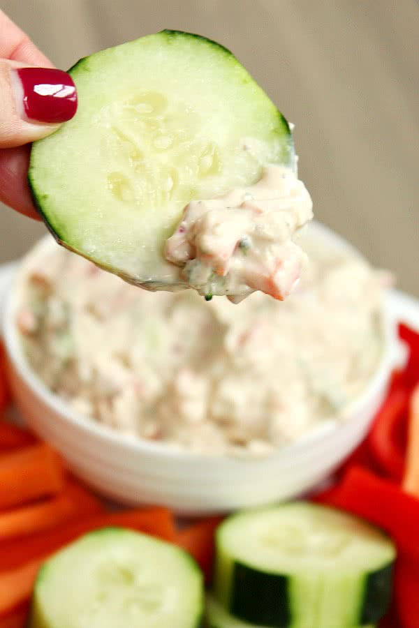 Skinny Vegetable Cream Cheese Dip
