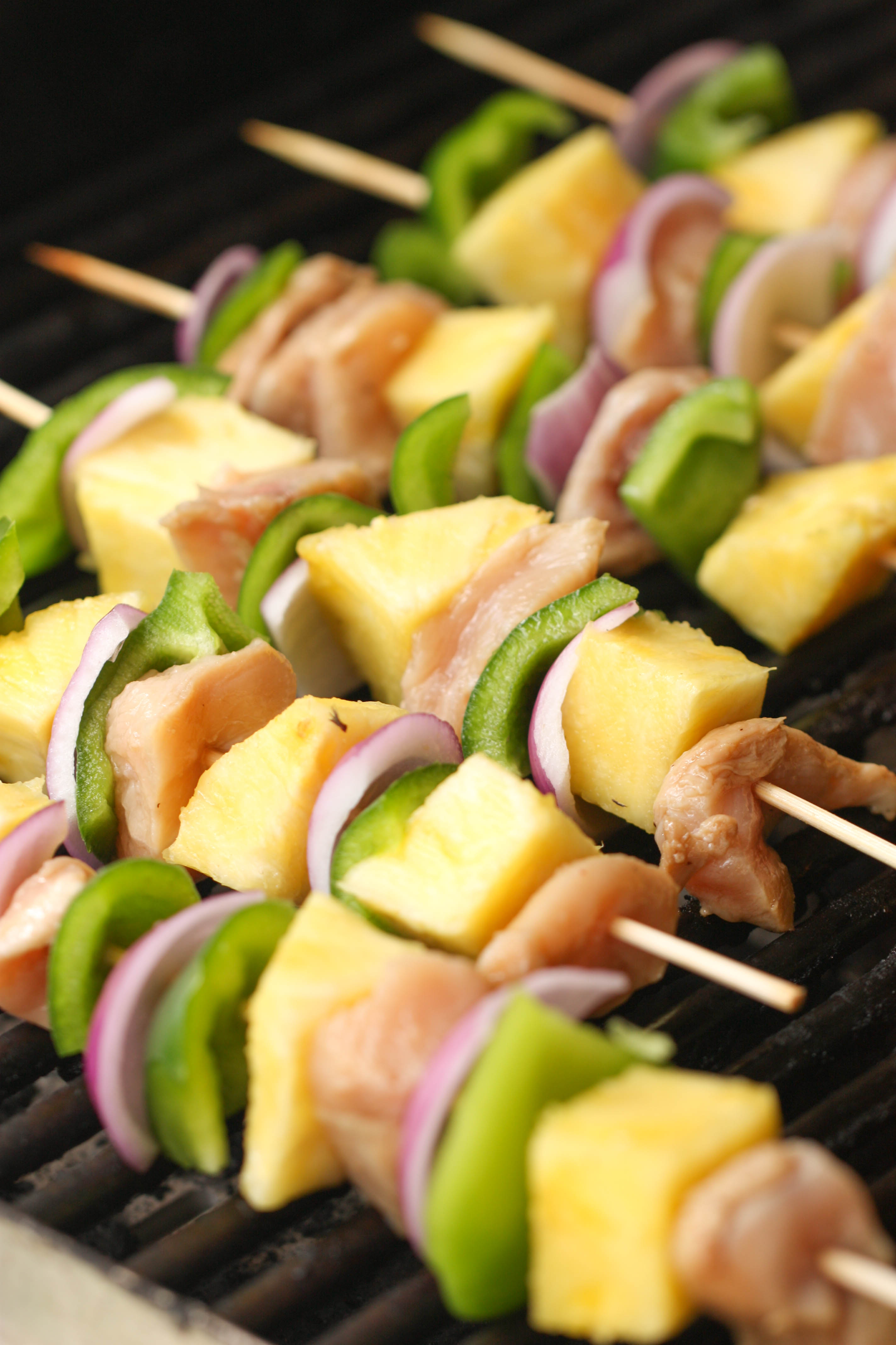 Grilled Island Chicken Kabobs on the grill