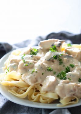 chicken Alfredo made healthier with less fat served with fettecine
