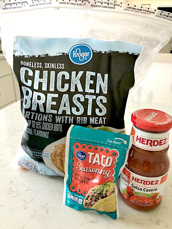 Ingredients for 3 Ingredient Slow Cooker Chicken Tacos