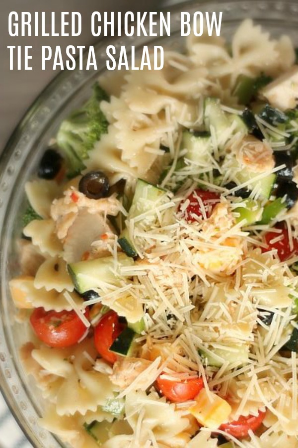 bow tie pasta salad with chicken cucumber and tomato