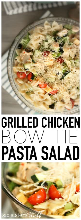 My family loves this Grilled Chicken Bow Tie Pasta Salad from SixSistersStuff.com
