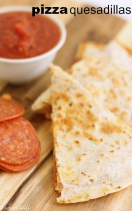 pizza quesadilla with pepperoni, sauce, and cheese