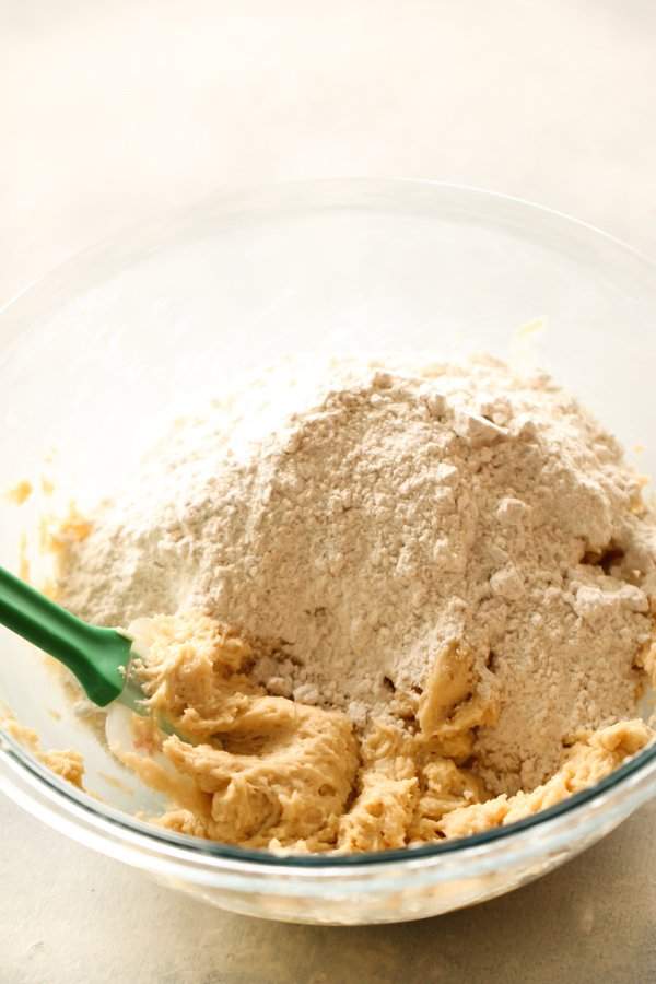 Dough Mixture for S'mores Bars in a glass mixing bowl