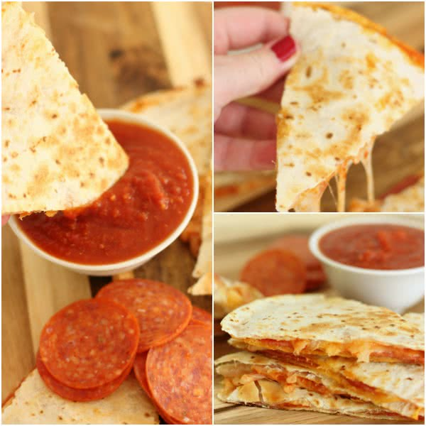 pizza quesadillas with pepperoni and dipped in pizza sauce