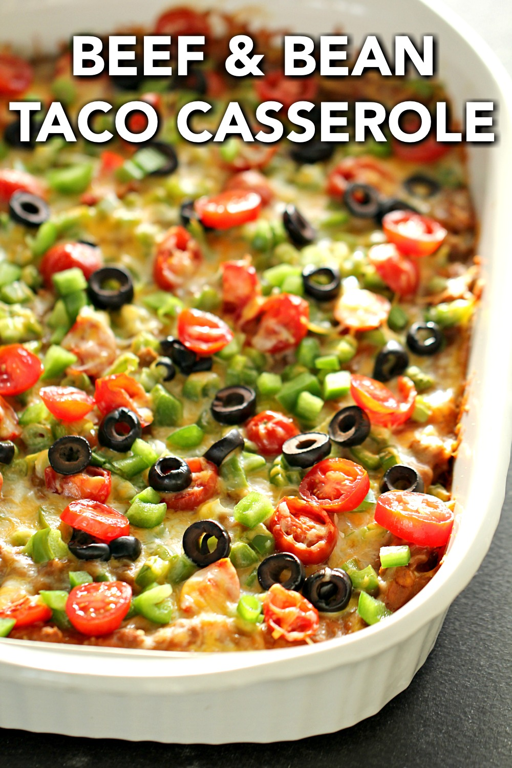 Ground Beef and Bean Taco Casserole in a white casserole dish