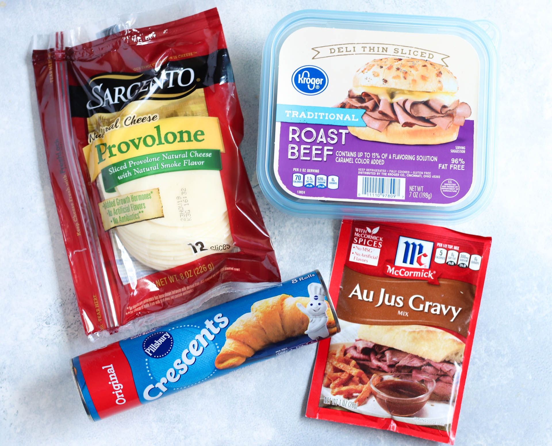 Provolone cheese, deli roast beef, refrigerated crescents, Au Jus Gravy Mix Packet