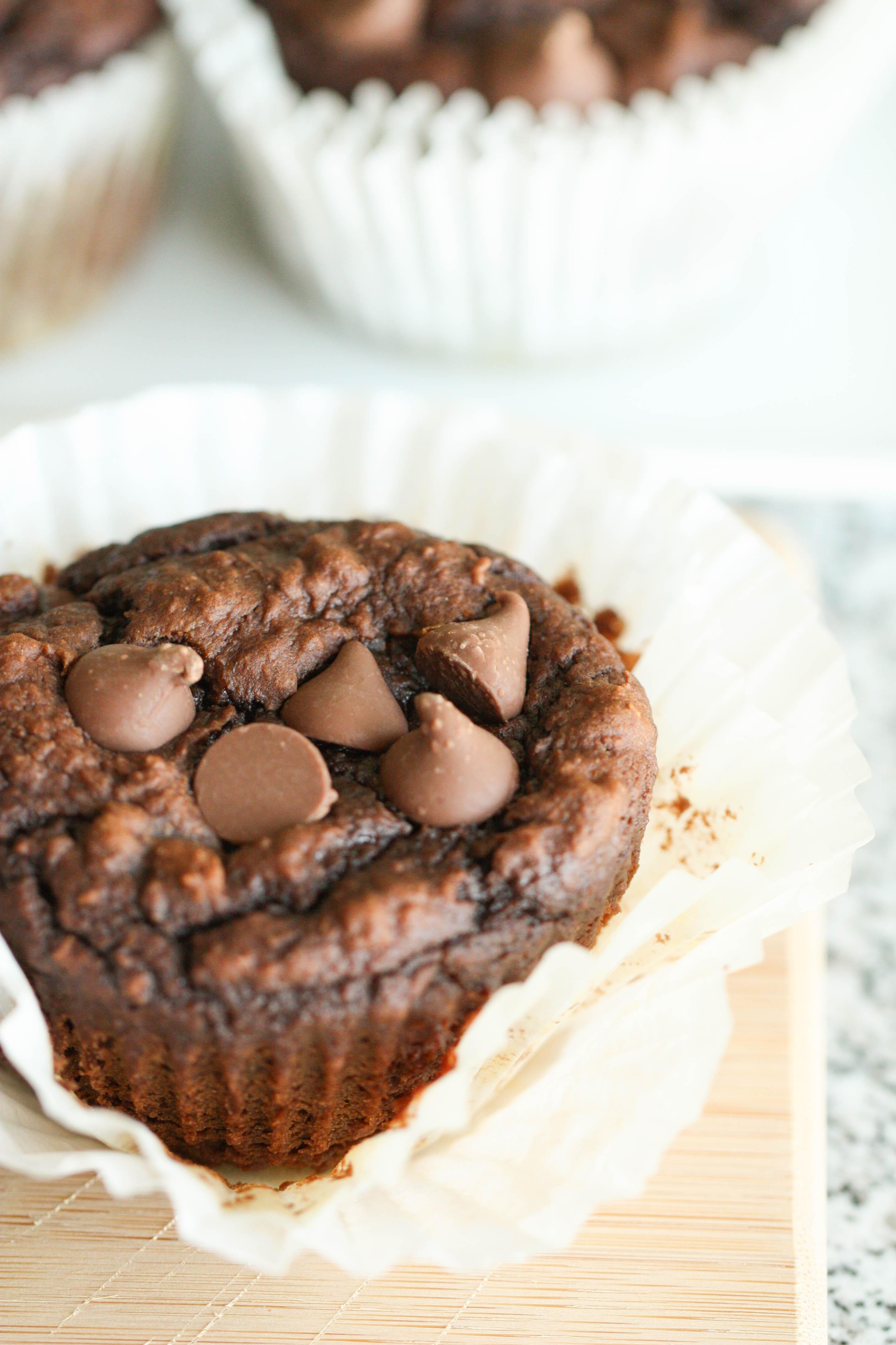 Close up of Chocolate Pumpkin Muffin in a muffin liner