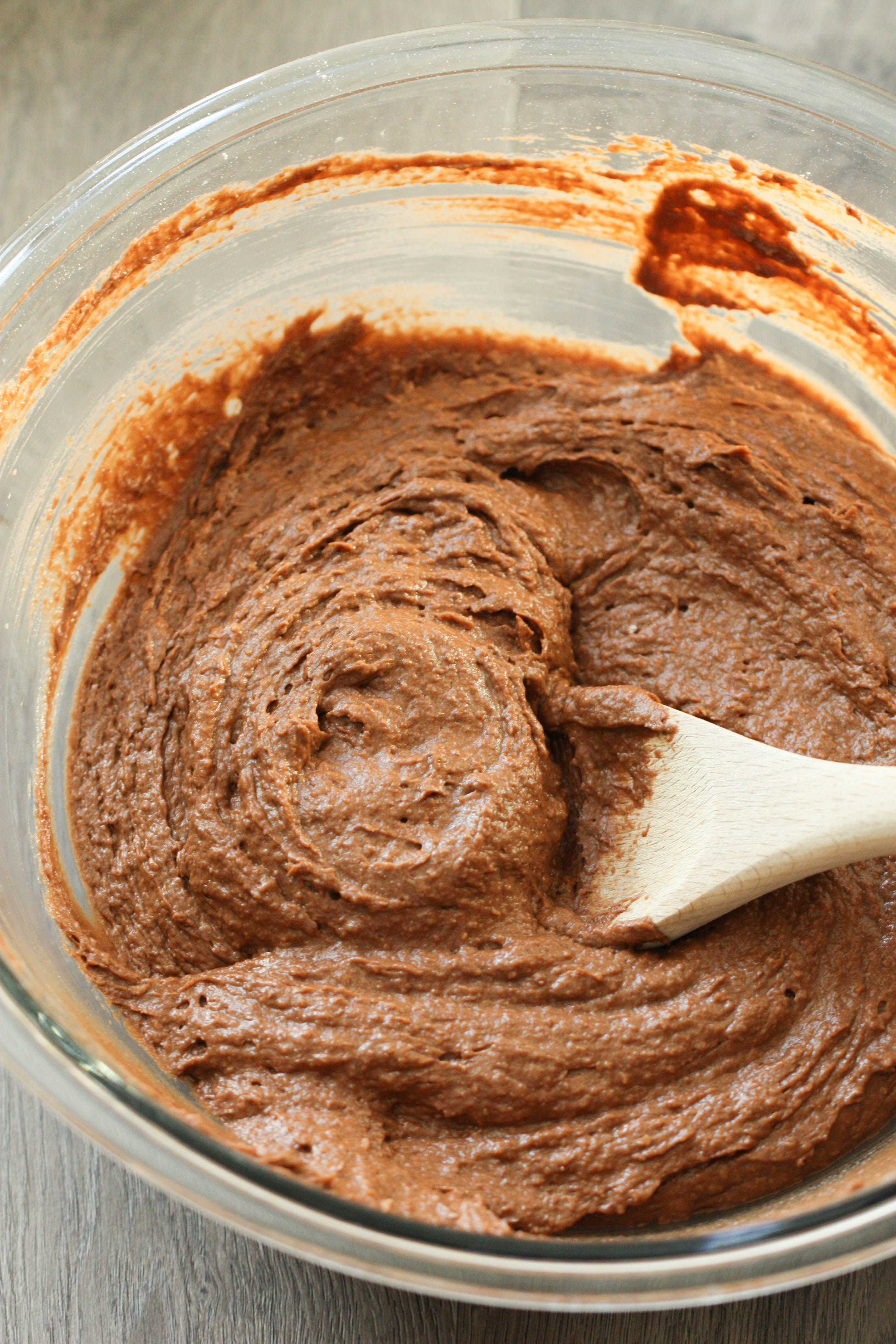 Chocolate Pumpkin Muffin batter in a glass bowl
