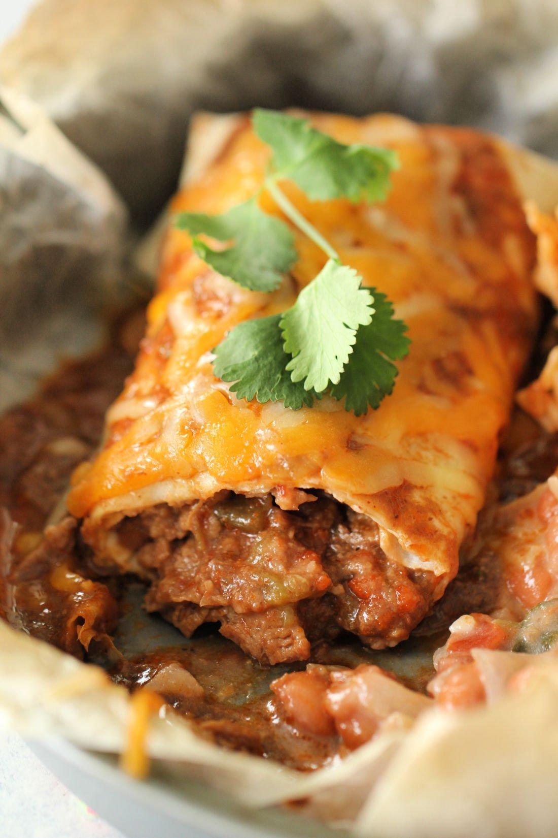 Slow Cooker Chile Colorado Beef Burritos