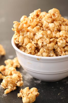 gooey homemade caramel popcorn in a bowl